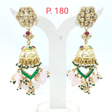 Wedding flower design green stone & pearl jhumka earring 1620