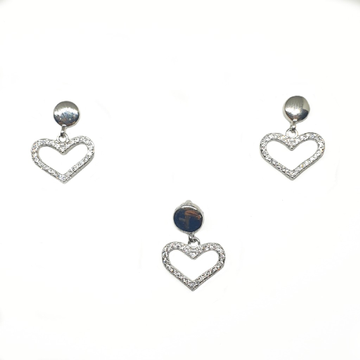 925 Sterling Silver Heart Shape Pendant Set MGA - PTS0097