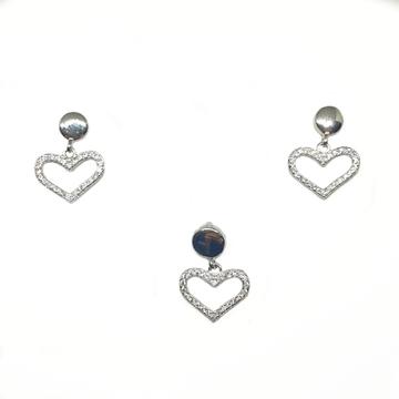 925 Sterling Silver Heart Shape Pendant Set MGA -...