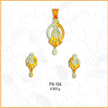 22KT CZ Gold Attractive Pendant Set PS-154