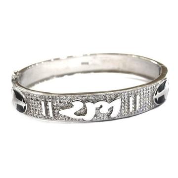925 Sterling Silver Fancy Kada Bracelet MGA - BRS0411