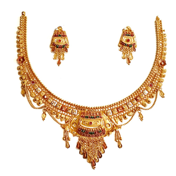 22k Gold Kalkatti Jhula Chain Necklace Set MGA - GN091