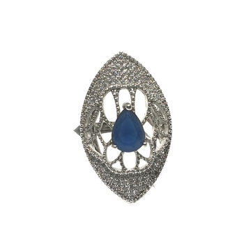 925 Sterling Silver Blue Stone Ring MGA - LRS0093