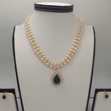 White And GreenCZ PendentSet With 2 Line ButtonJali Pearls Mala JPS0177