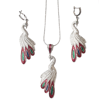 925 Sterling Silver Peacock Shaped Meenakari Necklace Set MGA - NKS0015