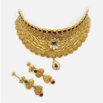 22K Gold Antique Wedding Choker Necklace Set RHJ - 4970