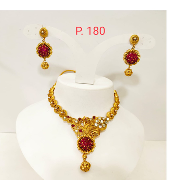 Gold Plated Flower Design choker style Necklace set with Red(ruby) & white stone 1357