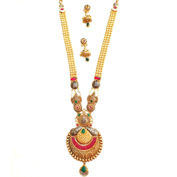 22kt Gold Antique Rajwadi Necklace With Jummar Buti MGA - GLS076