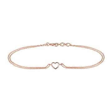 18kt rose gold and diamond delicate heart shaped chain bracelet jkb018