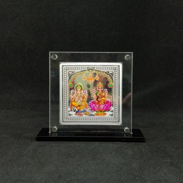 hallmarked Silver Designer Coin of Laxmi Ganesh in Color Printing