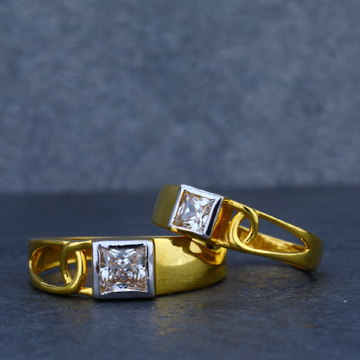 Fancy Gold Solitaire Engagement Couple Ring-CR29