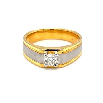 Solitaire ring for men with matt finish hallmark g...
