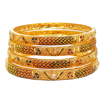 One gram Gold Forming 4 pieces kada bangles mga - bge0244