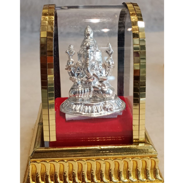 silver lord ganeshji murti with box by