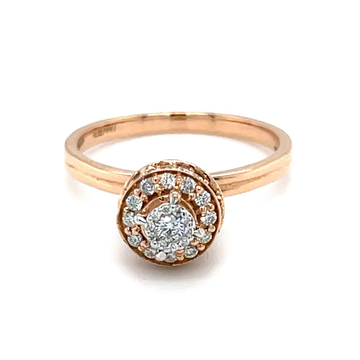 Fancy Vase Shaped Motif Diamond Ring in 18K Rose G...