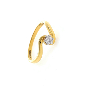 Single Diamond Ladies ring in 18k Yellow Gold - 1....