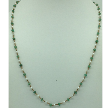 White Freshwater RoundPearls With EmeraldsGold Taar MalaJGT0011