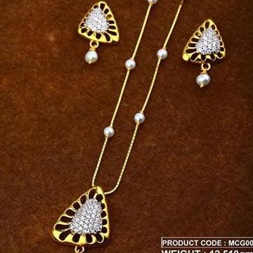 22Kt Gold Peral Chain Pset RH-Pset65
