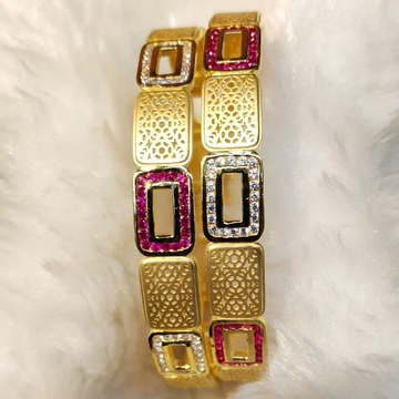22KT Yellow Gold Fancy Beautiful Pink And White Cz Stone Bangles For Women