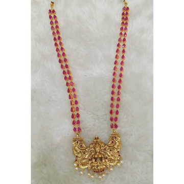 Pink And Golden Polished Temple Necklace Set#1063