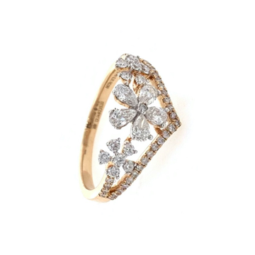 Trio Flower in Pear & Round Diamonds in 18k Rose Gold - VVS EF - 0.63 cts - 2.300 gms - 0LR31