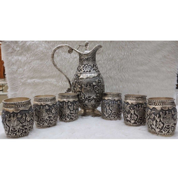 Glass & jag  antique set silver by