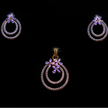 18k gold diamond flower design pendant set agj-ps-175