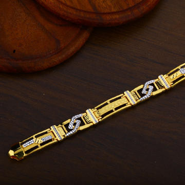 Mens 22K Gold Fancy Cz Bracelet-MPB43