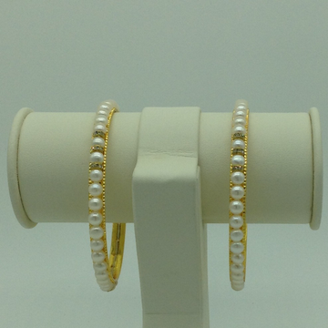 White Button Pearls And CZ Chakri Bangles JBG0090