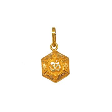 18K Gold Hexagon Shaped Om Pendant MGA - PDG0200