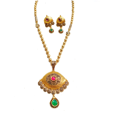 22k Gold Antique Designer Mala Necklace With Earrings MGA - GLS063