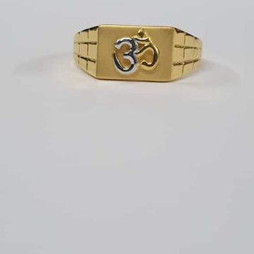 22kt Gold Dull Polish Chex Design om Ring for Men