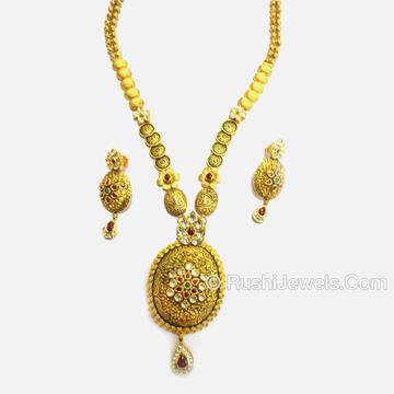 916 Gold Antique Long Necklace Set