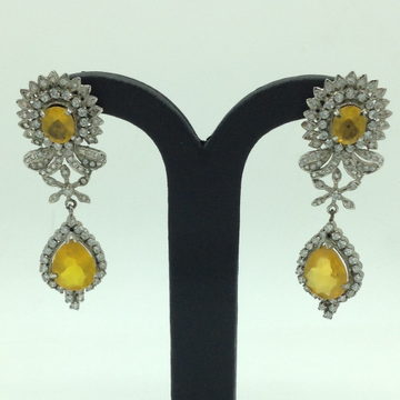 White and Yellow CZ Stones Ear Hangings JER0058