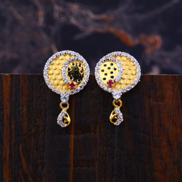 Ladies 916 Gold Cz Earrings-LFE145