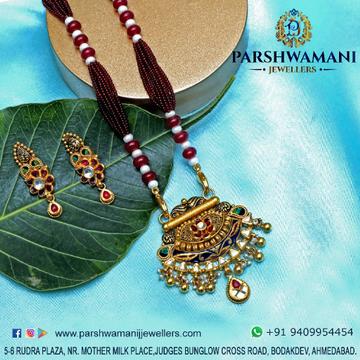 22 ct Gold  Coloring kundan Jali design light oxidised Antique pendent set With Marun Mala for Women