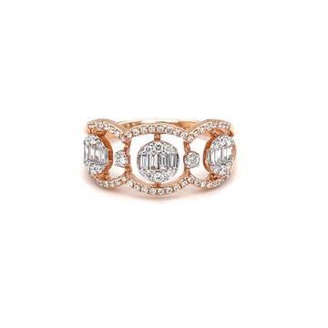 Tri pressure set diamond ring in 18 karat hallmark...