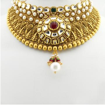 22kt Gold Antique Bridal Necklace Set RHJ-3383