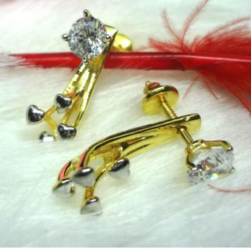 916 gold heart 2 in 1 cz earrings