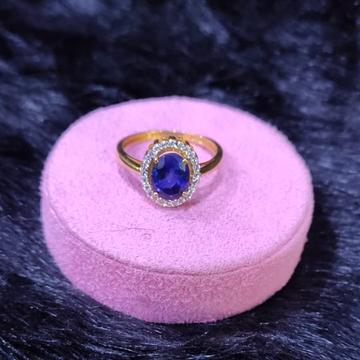 22KT/916 Yellow Gold Aveer  Blue Shapir Stone Cz Fancy Ring For Women