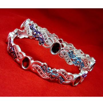 Silver 925 multicolor stone-meena bangles sk925-10