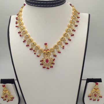 White CZ Polki and Red Stones Necklace Set JNC0036