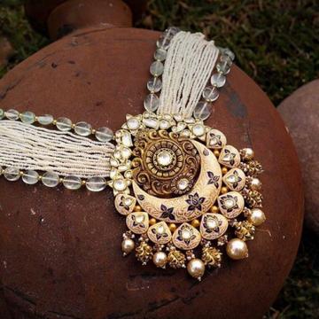 22kt 91.6 antique jaisalmeri jadtar bridal necklac... by