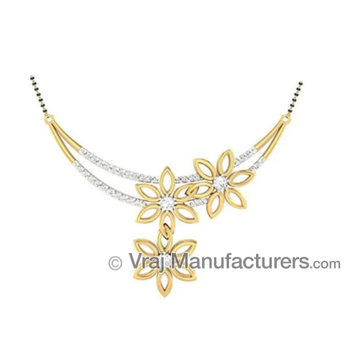 18K Casting Flower Shaped Gold Mangalsutra Floral Diamond Pendant