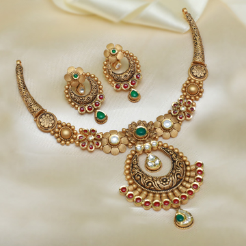 916 Gold Antique Jadtar Necklace Set For Wedding PJ-N006