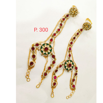 Traditional Gold Plated Red stone Kundan  Haath panja  with ring 1366