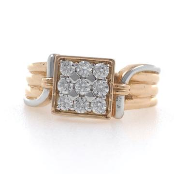 18kt / 750 rose gold fancy handmade box diamond gents ring 9gr10