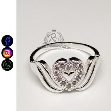silver heard daimond ladies rings Rh-LR411