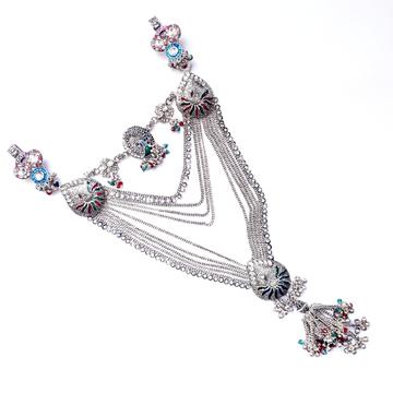 Belly chain antique oxidize silver kandora mga - jus0036