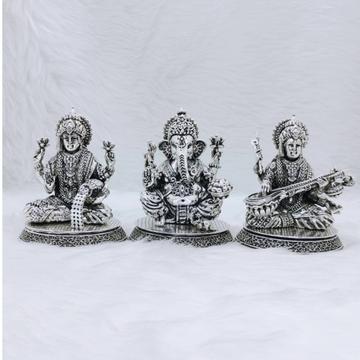 hallmarked silver Laxmi Ganesh Saraswati idol in h...